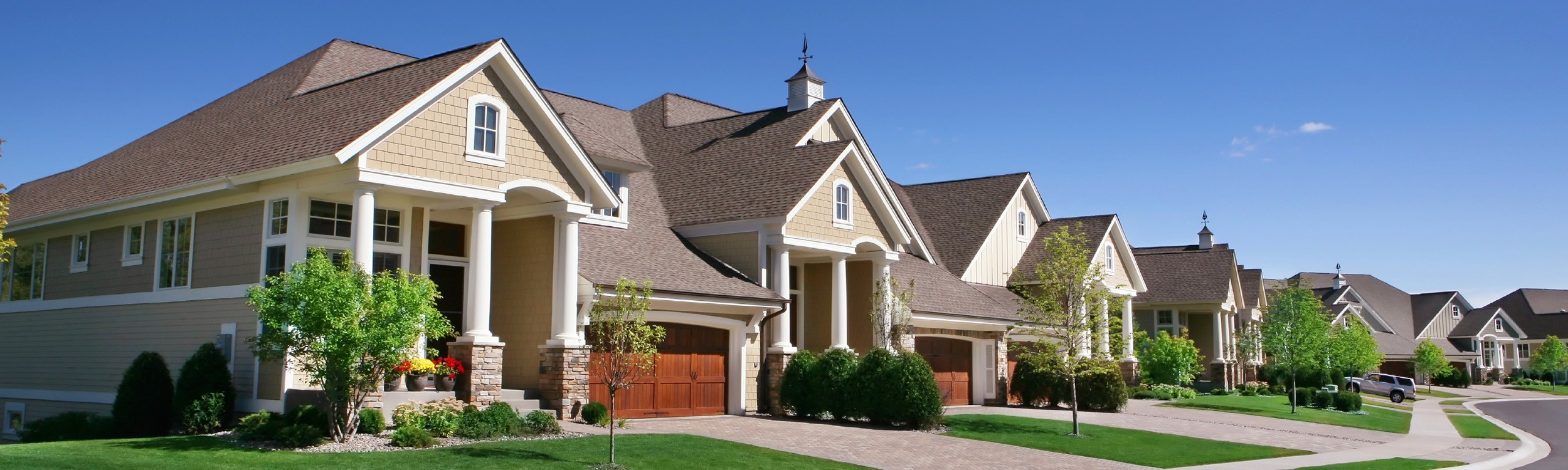 row of homes in subdivision